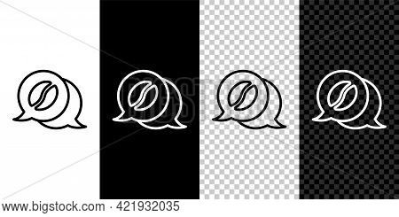 Set Line Coffee And Conversation Icon Isolated On Black And White Background. Coffee Talk. Speech Bu