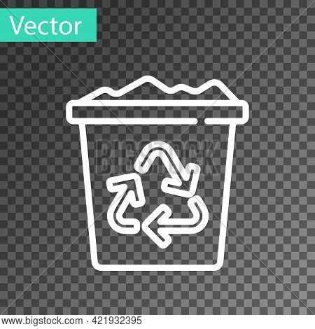 White Line Recycle Bin With Recycle Symbol Icon Isolated On Transparent Background. Trash Can Icon.