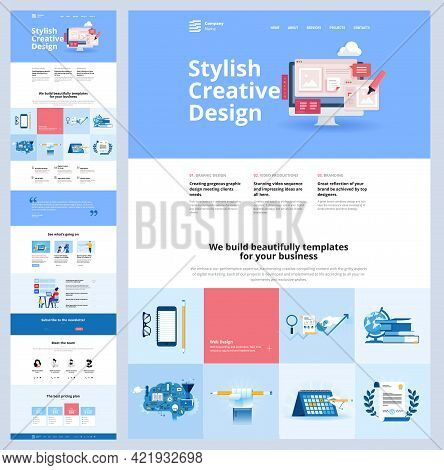 One Page Website Design Template. Vector Illustration Concept For Web Design And Development On The