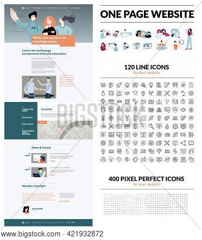 One Page Website Design Template. Set Of Vector Illustrations And Icons For Web Design And Developme