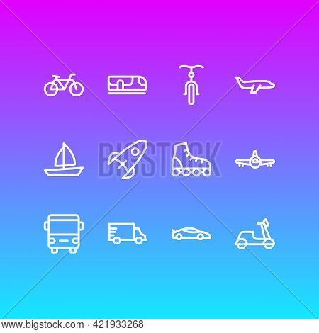 Illustration Of 12 Transit Icons Line Style. Editable Set Of Aircraft, Boat, Underground And Other I