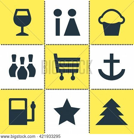 Illustration Of 9 Map Icons. Editable Set Of Harbor, Bar, Market And Other Icon Elements.