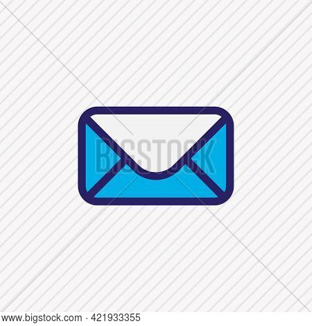 Illustration Of Mail Icon Colored Line. Beautiful Music Element Also Can Be Used As Message Icon Ele