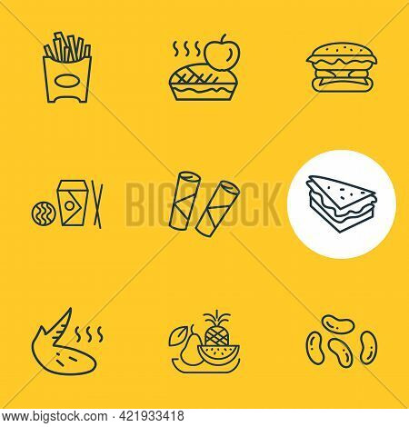 Illustration Of 9 Gourmet Icons Line Style. Editable Set Of Burger, Apple Pie, French Fries And Othe