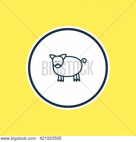 Illustration Of Pig Icon Line. Beautiful Zoology Element Also Can Be Used As Pork Icon Element.