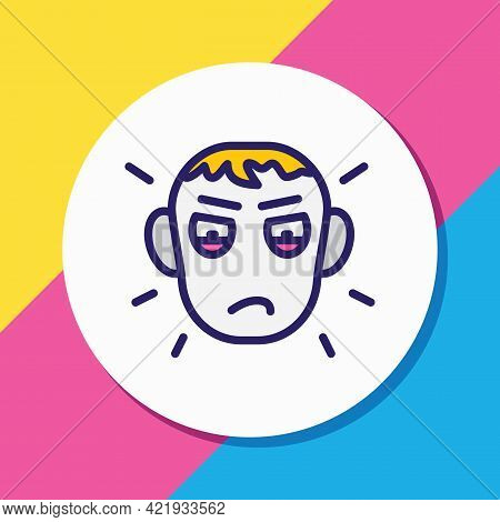 Illustration Of Jealousy Icon Colored Line. Beautiful Emoticon Element Also Can Be Used As Envy Icon