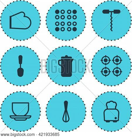 Illustration Of 9 Cooking Icons. Editable Set Of Spoon, Corkscrew, Kitchen Glove And Other Icon Elem