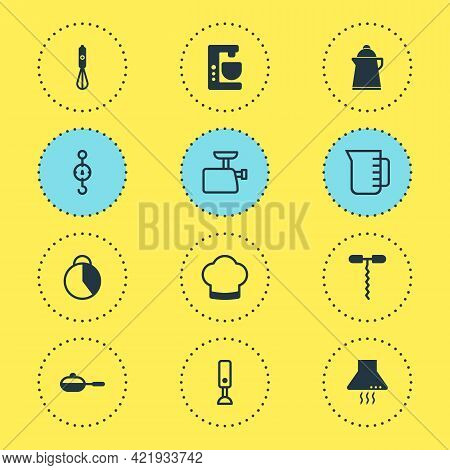 Illustration Of 12 Cooking Icons. Editable Set Of Stopwatch, Kitchen Hood, Blender And Other Icon El