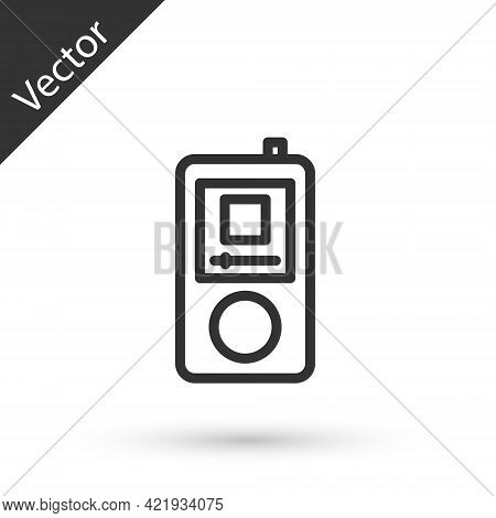 Grey Line Music Player Icon Isolated On White Background. Portable Music Device. Vector