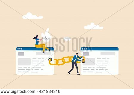 Add Back Link To Website In Increase Quality Score In Seo, Search Engine Optimization Concept, Peopl