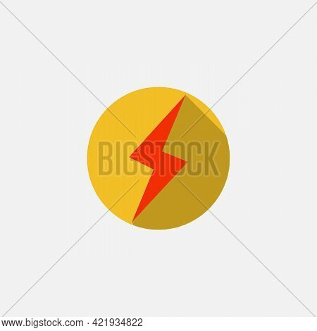 Lightning, Electric Power. Vector Energy And Thunder Icon On White Background