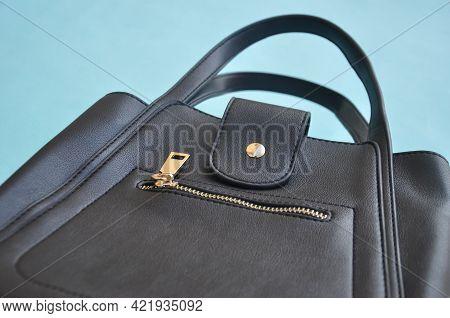 Low Angle View Of Black Color Leather Handbag