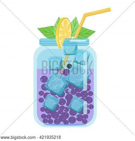 Soft Drinks, Fruit Cocktails With Black Currants, Carbonated Soft Drink In A Glass Jar, Vector Objec