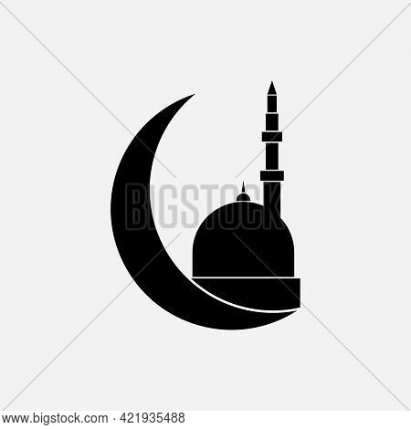 Islamic Mosque Of Black Color. Vector Mosque Building Upon A Moon Icon On White Background
