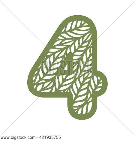 Number 4 (four) With Leaf Pattern. Spring Or Summer Font With Floral Ornaments. Decorative Element F
