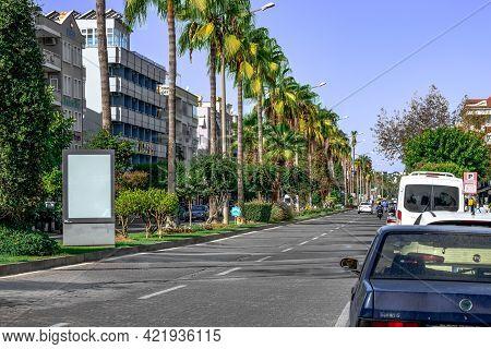 Alanya, Turkey - October 23, 2020: Ataturk Boulevard In Alanya. City Street With Blank Advertising B
