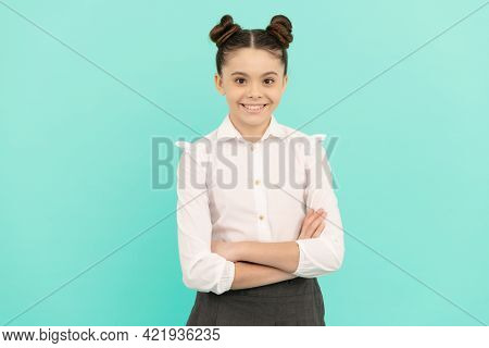 Confident Teenage Girl Pupil Happy Smile Keeping Arms Crossed Blue Background, Confidence