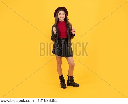 Tween Fashion Look. Childhood Happiness. Happy Girl In Leather Wear.