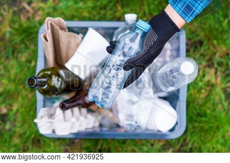 Hand Picking Up Plastic Glass Paper Trash From Grass And Put It In Recyclable Box. Volunteer Organiz