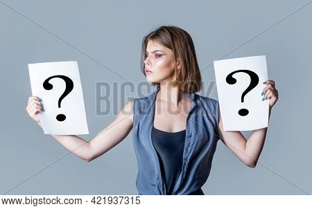 Question Mark, Symbol. Concept - Challenging Issue, Looking For The Answer. Girl Question. Woman Wit