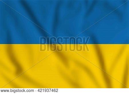 Vector Waving Flag Of Ukraine. Yellow And Blue National Ukrainian Symbol. Happy Independence, Consti