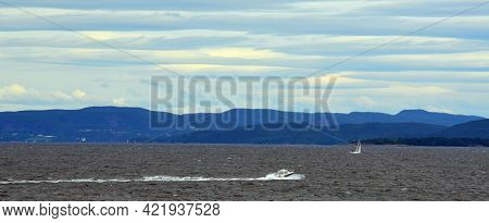 Oslofjord. View of the North Sea from Ferry from Horten to Moss connects Ostfold and Vestfold in Norway. Ferry crossing Oslofjord