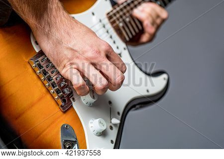 Electric Guitar. Repetition Of Rock Music Band. Music Festival. Man Playing Guitar. Close Up Hand Pl