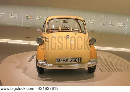 Germany, Munich - April 27, 2011: Bmw Isetta In The Exhibition Hall Of The Bmw Museum. Front View