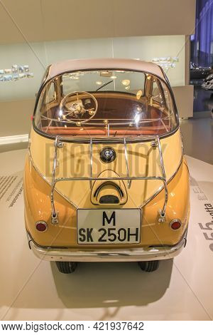 Germany, Munich - April 27, 2011: Bmw Isetta In The Exhibition Hall Of The Bmw Museum. Rear View