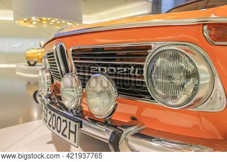 Germany, Munich - April 27, 2011: Bmw 2002 Ti In The E10 Body In The Exhibition Hall Of The Bmw Muse