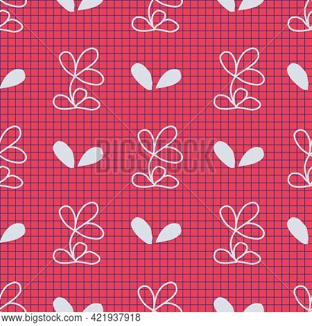 Flower Square Chequered Seamless Pattern. Vector Illustration. Perfect For Party, Fashion, Decoratio