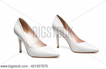 Fashionable Women Shoes Isolated On White Background. Stylish Classic Women Leather Shoe. White High