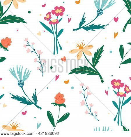 Seamless Pattern With Wildflowers. Meadow Flowers. Floral Background. Cartoon Design For Paper, Cove