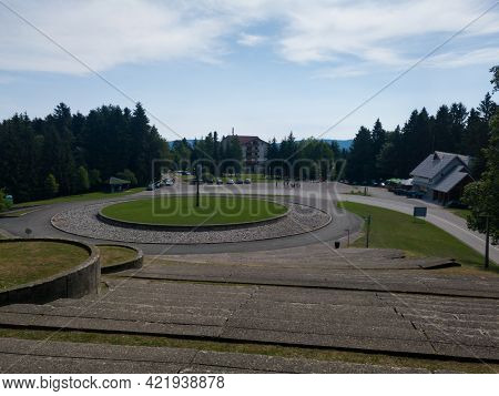 Mrakovica, Bosnia And Herzegovina-august 1, 2020:large Stairs Leading To Monument To The Revolution