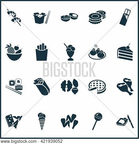 Gourmet Icons Set With Burrito, Take Away Chinese Food, Piece Of Cake And Other Dessert Elements. Is