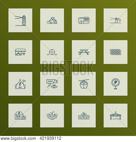 Public. Skyline Icons Line Style Set With Sprinkler System, Brick Wall, Video Control And Other Coll