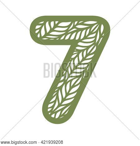 Number 7 (seven) With Leaf Pattern. Spring Or Summer Font With Floral Ornaments. Decorative Element