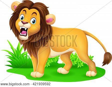Vector Illustration Of Cartoon Lion Roaring In Grass