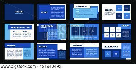 Presentation Template. Blue And White Rectangles Flat Design, 12 Slides. Title, Detail, Development,