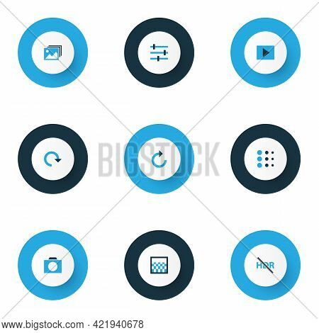 Image Icons Colored Set With Blur, Tune, High Dynamic Range And Other Hdr Off Elements. Isolated Ill