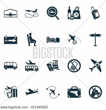 Aviation Icons Set With Gates Sign, Bus, Buy On Board And Other Plane Assurance Elements. Isolated I