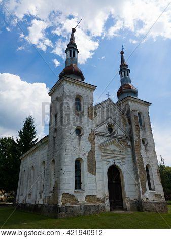 Kozarac, Bosnia And Herzegovina - August 1, 2020: The Old Church Of St. Peter And Paul In Kozarac, P