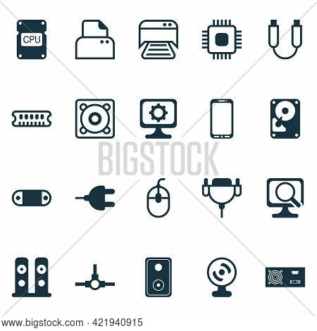 Hardware Icons Set With Speaker, Usb Cable, Photocopy Machine And Other File Scanner Elements. Isola