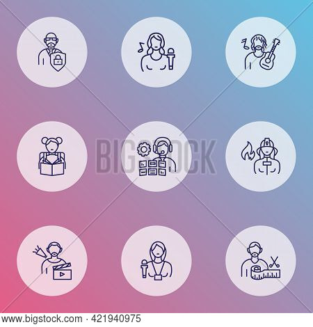 Profession Icons Line Style Set With Firefighter, Fashion Designer, Director And Other Firewoman Ele