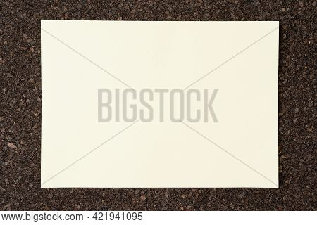 Blank For Text Frame On Cork Panel, Interior Mockup For Design Use Or Background Use. Blank Note Pap