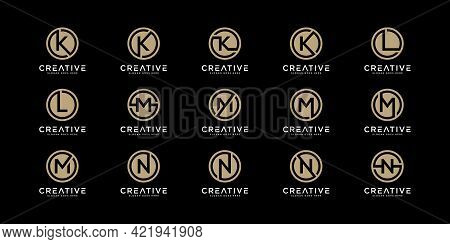 Set Of Logo Letters K,l,m And N With Circle Style. Template