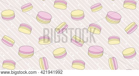 Pink And Yellow Macaroons On A Beige Striped Background With Small Stars. Endless Texture With Frenc