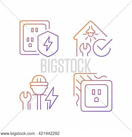 Electrician Service Gradient Linear Vector Icons Set. Surge Protection. Safety Inspection. Operating