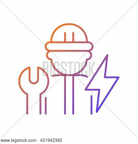 Electrician Gradient Linear Vector Icon. Electrical Wiring System Installation And Maintenance. Oper