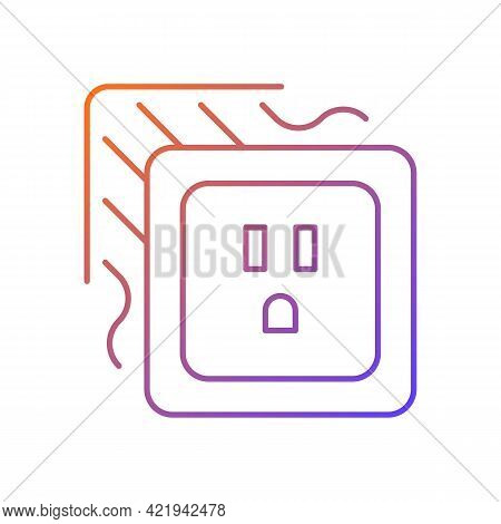 Loose Outlet Gradient Linear Vector Icon. Electricity Flow Disruption. Fire Hazard Risk. Faulty Elec
